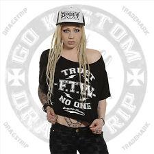 Dragstrip Clothing Girl Crop Top Trust No One Biker Lucky 13 hotrod FTW top