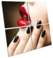 Lipstick Nails Beauty Salon Framed MULTI CANVAS PRINT Art Square