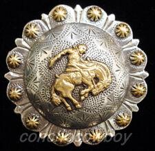 "Set of 6 Western Horse Tack Gold Bronc Rider Berry Saddle Conchos 1"" screw back"