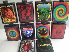 5oz PLASTIC FLASK w/ funnel CHOICE OF DESIGN Tie dye 420 marijuana leaf