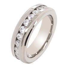 6mm Titanium Step Edge Round Cubic Zirconia Eternity Band Wedding Ring