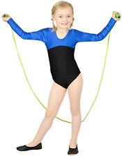 "Kinder Gymnastikanzug Body ""Gina"" Royalblau-Schwarz leotard trikot shiny stretch"