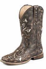 Roper Western Boots Girls Kids Lazer Bling Tan 09-018-0901-0671 TA