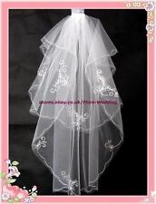 2-Tier Braut Brautschleier Diamante & Fingertip Länge 14