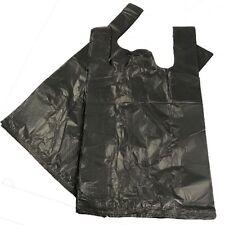 """Black Plastic Vest Carrier Bags 11x17x21"""" Choose Qty"""