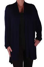 Jersey para mujer Espalda de Encaje Manga Larga Abierta Cardigan Sweater Abrigo Informal Envolvente llano