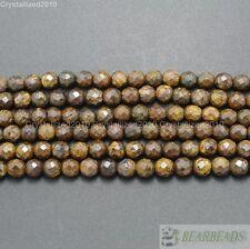 "Natural Bronzite Jasper Gemstone Faceted Round Beads 6mm 8mm 10mm 12mm 15.5"""