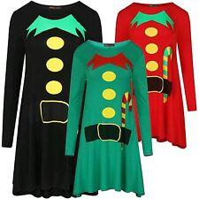 New Womens Xmas Elf Print Flared Skater Swing Costume Dress 8-26