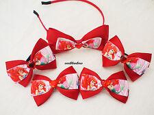Handmade girl children RED princess Ariel ribbon bow hair clips bobbles headband