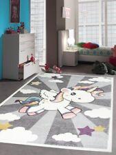 Tapis de jeu pour enfants Tapis bébé avec licorne arc-en-ciel en crème grise