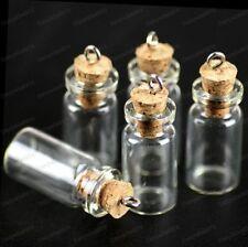5 10 20 SMALL GLASS BOTTLES pendant CORK stopper VIALS cute MINI samples JARS