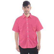 Pink Shirt Short-Sleeve Button Down Shirt Men's PAB1