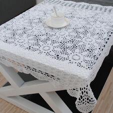 Vintage Floral Crochet Doilies Cotton Lace Tablecloth Square Table Topper