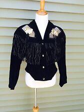 Black Suede Fringed Jacket w/Gold Metal Hardware Detailing 1980 Vintage Cowgirl