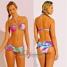 Raisens Swimwear Bikini Brazillian Cut Floral Bandeau Halter Ruffled Skirt  M L