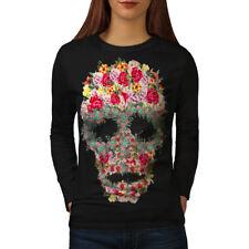 Skull Rose Flower Women Long Sleeve T-shirt NEW   Wellcoda