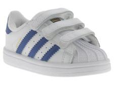 Scarpe Adidas Superstar bambino bianco e blu 2-6 anni in pelle con tre strappi