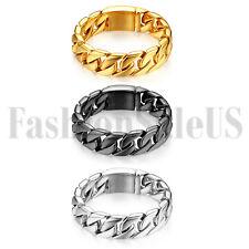 Polished Men's Stainless Steel Heavy Biker ID Curb Chain Bracelet Link Bangle