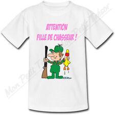 T-shirt Femme Attention Fille de Chasseur ! Tailles du S au 2XL