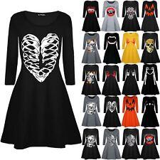 Womens Ladies Halloween Skeleton Bones Heart Printed Smock Flared Swing Dresses