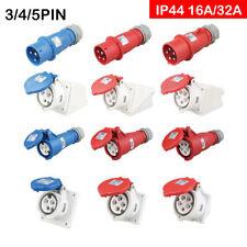 3 Fasi IP44  Presa Industriale Cee Rosi Spina Schuko 16A-32A 3/4/5 Pin Rosso Blu