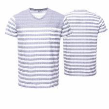 LTB T-Shirt Herren Freizeitshirt Burnout Look Used Streifen Grau Weiß Gestreift