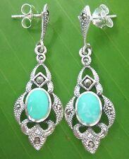 100% 925 sterling silver SWISS Marcasite Turquoise Studs  Earrings WOMEN GIRL