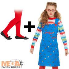 Chucky Girls Fancy Dress Halloween Horror Killer Doll Kids Costume + Red Tights