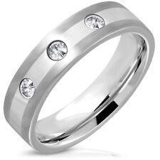 BAGUE ANNEAU MARIAGE HOMME ACIER BANDE SERTIE 3 PIERRES ZIRCONS XXR788 TAILLE 60