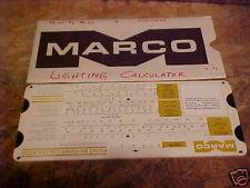 1971 MARCO HAND SLIDE LUMINAIRE LIGHTING CALCULATOR