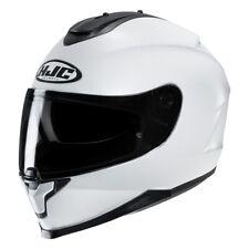 hjc c 70 bianco mono colore grafica lucido casco integrale white metal rayn
