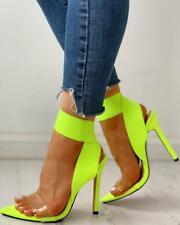 Sandali stiletto sabot ciabatte 12 cm  verde fluo pelle sintetica cw257