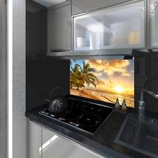 Splashback Toughened Glass Modern Unique Kitchen Palm Tree Sea Beach Any Sizes