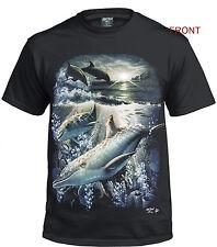 Delfín 3D 100% Cotton T Shirt/Biker/Lindo/Gracioso/Salvaje/mar/Regalo/Negro/Top/Camiseta