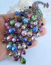 "4.33"" Gorgeous Peacock Animal Brooch Pin Pendant Rhinestone Crystal 05651"