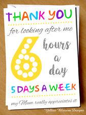 Teacher Thank You Card Assistant Nursery Childminder Carer Looking After Me Miss