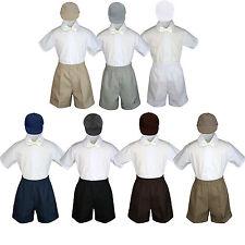 4pc Baby Boys Toddler Formal Ivory Bowtie Black Khaki Shorts Set Hat Sm-4T