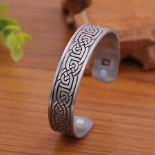 Vintage Nordic Viking Irish Celtic Knot Magnetic Healthcare Cuff Amulet Bracelet