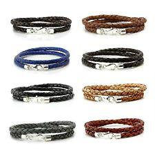 Cuero Hombres bracelet-genuine Cuero wristband-sterling silver-double Envolvente