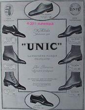 PUBLICITE ANCIENNE 1924 CHAUSSURES UNIC MODE AUTOMNE NOUVELLE  ART DECO AD