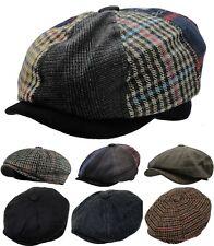 Men's Wool Blend Plaid Herringbone Winter Applejack Newsboy Patchwork Ivy Hat