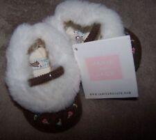 NWT Janie & Jack Brown Corduroy Faux Fur CRIB SHOES Infant Newborn Girl 00 OR 04