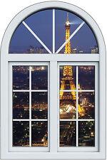 Sticker fenêtre trompe l'oeil Paysage Tour Eiffel la nuit réf 1029