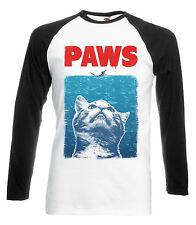 LONG SLEEVED BASEBALL T-SHIRT PAWS JAWS PARODY FUNNY CAT TOP