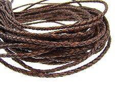 Cuir ficelle (à partir de 2,5 €/m), tissée 4 MM. ANTIK MARRON FONCÉ. cordon cuir.