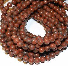 "GR143f Red Sesame Jasper 6mm Round Natural Gemstone Beads 16"""