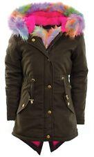 Girls&Ladies Boohoo Hooded Jacket Kid Fur Parka School Jacket Coat Fishtail 5-16