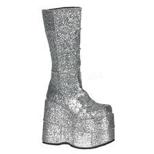 "DEMONIA STA301G/S MEN'S Silver Glitter 7"" Platform Gogo Dancer Knee High Boots"