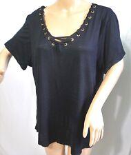 Moral Fiber Women Plus Size 1x 2x 3x Black Fake Lace Up T Shirt Tee Blouse Top