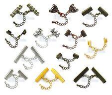 Chaîne extension+Fermoir Mousqueton+Embouts pour Bracelet Collier Couleur Argent